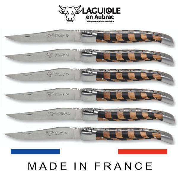 laguiole table knives checkered inlay ebony-olivewood