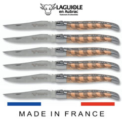laguiole table knives checkered inlay juniper-plum