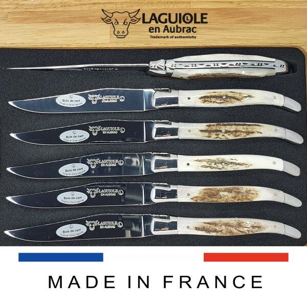laguiole table knives deer antler shiny polish