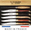 laguiole table knives mixed wood shiny brass