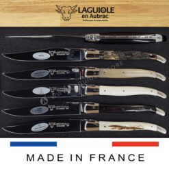 mixed horn and bone laguiole table knives set of 6