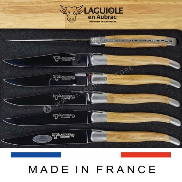 olivewood laguiole steak knives set of 6 satin polish