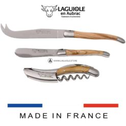 olivewood laguiole wine and cheese set