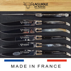 pressed horn laguiole steak knives set of 6