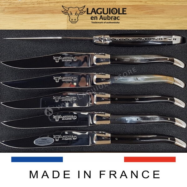 pressed horn laguiole steak knives set