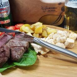 satin stainless steel laguiole en aubrac steak knives