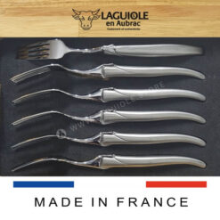 set of 6 laguiole dinner forks satin stainless steel handle