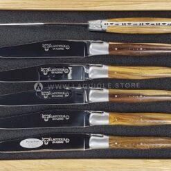 set of 6 laguiole en aubrac steak knives pistachio wood satin polish