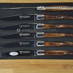 set of 6 laguiole en aubrac steak knives pistachio wood shiny polish