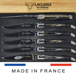 set of 6 laguiole steak knives double plates
