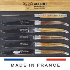 set of 6 laguiole steak knives pistachio wood satin polish