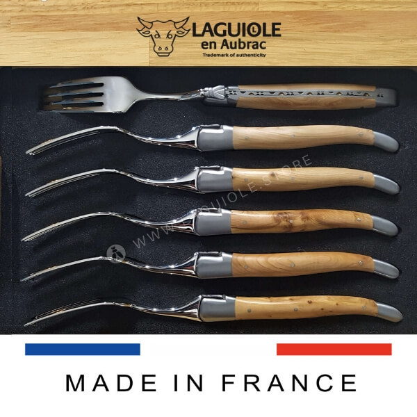 set of 6 dinner forks laguiole juniper wood handle