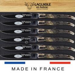 steak knives set laguiole ram horn crust