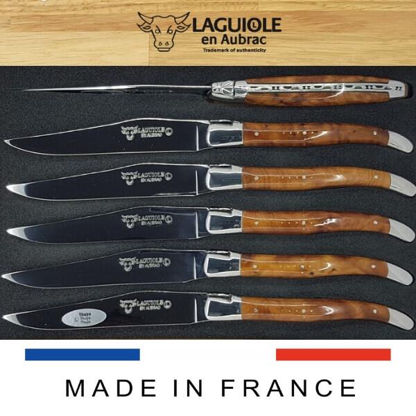 thuya wood laguiole steak knives set of 6