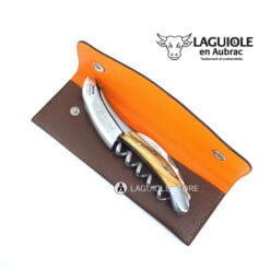 two tone laguiole leather belt sheath for waiterd corksrews