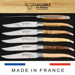 wood burl handle laguiole tables knives