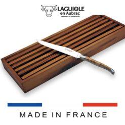 laguiole bread knife and acacia cutting board set