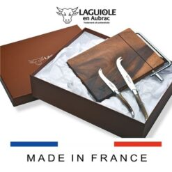 laguiole cutting board with cutting thread and cheese knife