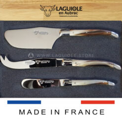 laguiole en aubrac cheese set horn tip handle