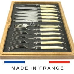 beef bone laguiole cutlery set with steak knives and forks