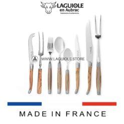 laguiole flatware set olivewood handle