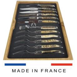 ram horn laguiole cutlery set 12-piece