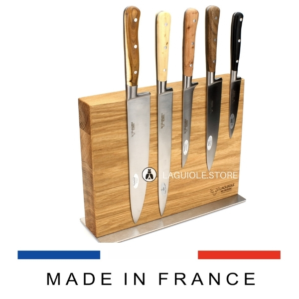 laguiole kitchen knives set in magnetic block mixed woods