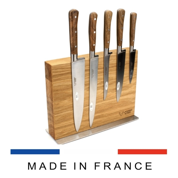 laguiole kitchen knives set in magnetic block walnut wood