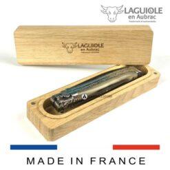 laguiole en aubrac oak box for pocket knives without corkscrew