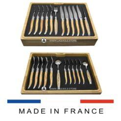laguiole cutlery set olivewood 24-piece
